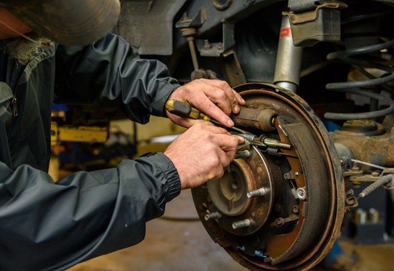 Close up of brake repairs by Skip's Automotive